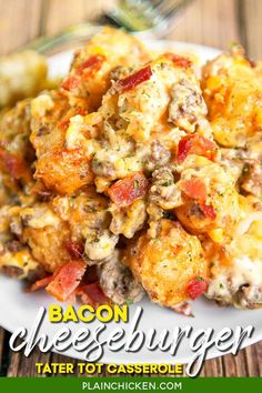 Bacon Cheeseburger Tater Tot Casserole - hamburger, bacon, cheese, cheese soup, sour cream and tater tots - what's not to love? We ate this twice in one day! Can be made ahead of time and refrigerated or frozen for later. You can also divide it between two 8x8-inch foil pans and freeze one. Great for a potluck and tailgating this fall! #casserole #hotdish #tatertots #groundbeef #bacon Tater Tot Recipes, Cheese Burger Soup Recipes, Easy Casserole Recipes, Cheese Soup, Hamburger Recipes, Hamburger Dishes, Cheddar Cheese, Ground Beef Recipes For Dinner, Dinner Recipes