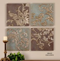 Uttermost Damask Relief Blocks Wall Art Set/4 -- Could place in a grouping on the wall, or on easels in bookcase