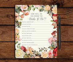 Custom Bridal Shower Game // How well do you know the bride, by SomebodyLovedShop, $12.00