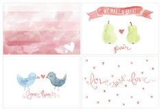 Watercolored valentines card or a just beacuse