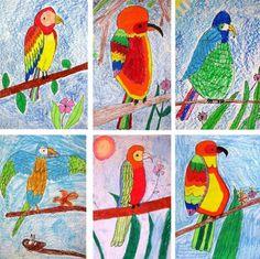 Lesson 1: Oil Pastel Parrot