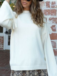 HUHU833 Fashion Women Solid Long Sleeve O-Neck Pocket Long Sweater Casual Loose Pullover Tops