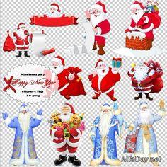 Новогодний PNG клипарт - Дед Мороз и Санта Клаус