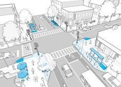 National Planning Excellence Award for Boston Complete Streets Design Guidelines Landscape Diagram, Urban Landscape, Landscape Design, Urbane Analyse, Parque Linear, Public Space Design, Public Spaces, Urban Design Diagram, Architecture Drawings