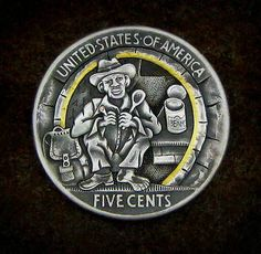 """Hobo nickel: """"Life is good"""" by Tim wolf Wolf Life, Italy Pictures, Hobo Nickel, Coin Art, Metal Engraving, Dollar Coin, Coins, Carving, Buffalo"""