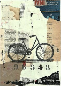 Print Art Ink Drawing Collage Mixed Media Bicycle Bike Painting Illustration Gift Cat Autographed by artist Emanuel M. Ologeanu:
