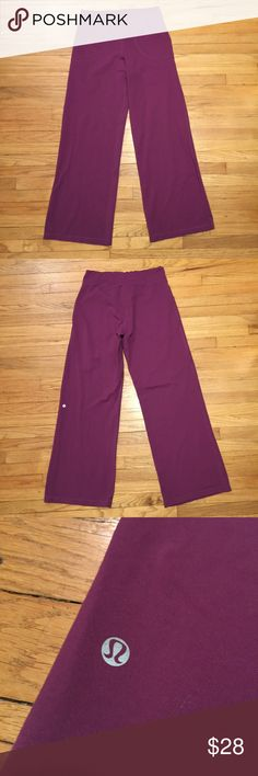 Lululemon purple workout gym pants - size 10 Lululemon purple wide leg workout gym pants - size 10. Waist - 16 inches. Rise - 11 inches. Inseam - 31.5 inches. lululemon athletica Pants Wide Leg