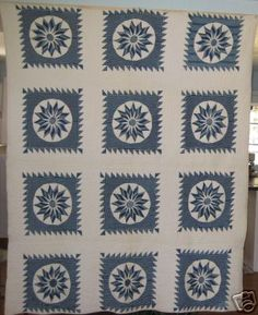 Blue & White Mariner's Compass quilt - antique.  Effective use of stripes (see detail). on eBay at gurly46