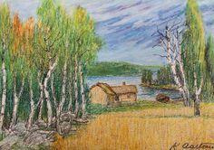 Kalle Aaltonen: Maisema, liitutyö Painting, Art, Art Background, Painting Art, Kunst, Paintings, Performing Arts, Painted Canvas, Drawings