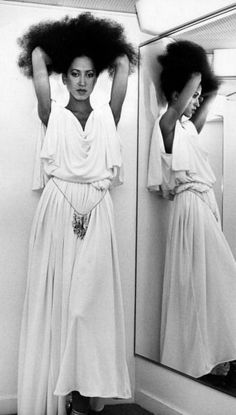 Pat Cleveland 70s fashion icon in a flowy white goddess dress - similar styles: http://www.nastygal.com/clothes-dresses-lwd?utm_source=pinterest&utm_medium=smm&utm_content=tzr_70s_style