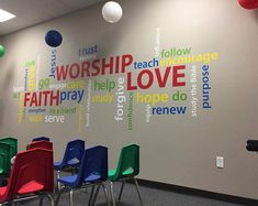 Add some zaz to your fellowship hall, youth room, Sunday School room or church with this word collag Youth Room Church, Kids Church Rooms, Kids Church Decor, Youth Rooms, Church Nursery, Sunday School Decorations, Children Church, Youth Ministry, Youth Decor
