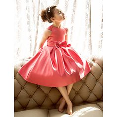 A-line Princess Jewel Tea-length Satin Flower Girl Dress (733991) – USD $ 44.99