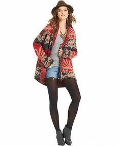 Free People Sweater, Long-Sleeve Open-Front Cardigan at Macys (and other sites) (Charcoal combo)