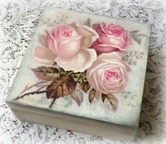 Decoupage keepsake box , trinket box , jewelry box , decoupaged box , vintage…