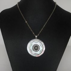 Vintage mother of pearl button pendant by CarolsThreads on Etsy