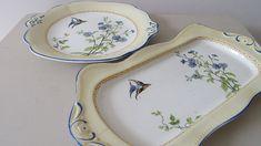 Vintage James Kent Fenton Blue Flowers Oblong and Square Plate. 1920 James Kent Shabby Chic Plates. Art Deco James Kent Blue Flowers Plates