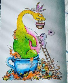 """""""Popoludniowy odstresacz;)) #doodleinvasion #doodle #inwazjabazgrołów #inwazjabazgrolow #bazgroly #kolorowankaantystresowa #kolorowankadladorosłych…"""""""