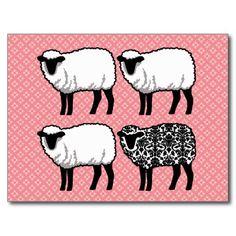 ピンク & ダマスク模様のとってもキュートな羊達。2015年をチャーミングに始めたいあなたにぴったりの年賀状用ポストカード。#zazzle #2015 #年賀状