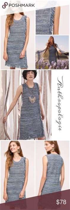 """Anthropologie Fringed Sweater Dress Cotton blend sweater dress by Holding Horses in blue motif features pull on styling, fringe trim, perfect Winter dress for any occasion length approx 34"""" from shoulders Anthropologie Dresses"""