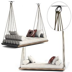 models: Other soft seating - sofa on the ropes Hanging Furniture, Hanging Beds, Diy Furniture, Furniture Design, Hanging Chairs, Outdoor Beds, Soft Seating, Swinging Chair, Porch Swing