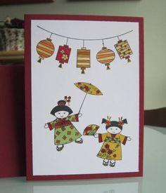 handmade greeting card ... Asian theme ... hanging lanterns ... two cute girls in kimonos ... Kimono Party ... Stampin' Up!