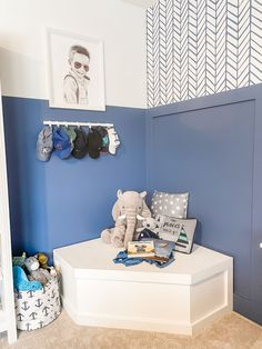 This bench/storage combo is so smart! Feather Wallpaper, Big Boy Bedrooms, The Company Store, Bench With Storage, Project Nursery, Book Nooks, Baby Boy Nurseries, Duvet Covers, Furniture