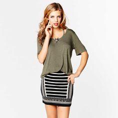 Our favorite studded mini skirt!