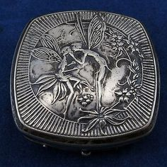 MAXFIELD-PARRISH-Kissing-Fairies-DJER-KISS-POWDER-COMPACT-PERFUME-Spring-Loaded