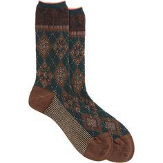 Antipast Snowflake Argyle Dress Sock ($34) ❤ liked on Polyvore featuring intimates, hosiery, socks, accessories, shoes, socks and tights, argyle socks, argyle dress socks, brown striped socks and brown dress socks