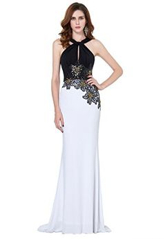 Elegant Halter Sleevess Long Prom Dress With Applique Size 6 *** You can find more details by visiting the image link. We are a participant in the Amazon Services LLC Associates Program, an affiliate advertising program designed to provide a means for us to earn fees by linking to Amazon.com and affiliated sites.