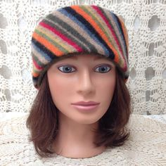 Wool headband-Beautiful upcycled-recycled multi color striped