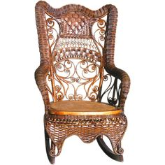 FANCY VICTORIAN WICKER ROCKING CHAIR | From a unique collection of antique and modern rocking chairs at http://www.1stdibs.com/furniture/seating/rocking-chairs/