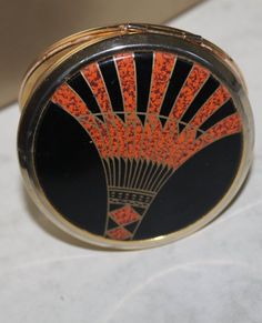 Art Deco Pattern in Orange and Black by Stratton. Powder Compact with Mirror. Ideal Stocking Filler Gift for Her. Stratton Compact, Art Deco Pattern, Solid Perfume, Jazz Age, Stocking Fillers, Agatha Christie, Dancing, Gifts For Her, Powder