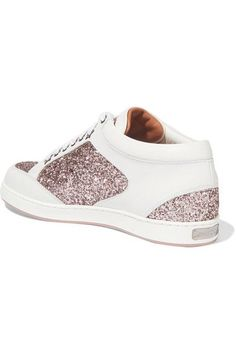 Jimmy Choo - Miami Glitter-paneled Leather Sneakers - White - IT35.5