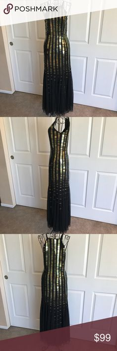 Formal Dress with Hologram Embellishments. Unique formal dress with slight mermaid style lines. Worn once to a futuristic themed formal dinner. 100% Polyester. Dress fitted to measurements 32x24x33. ASOS Dresses Prom