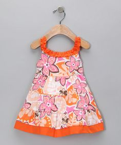 Orange Floral Tiered Dress - Infant by RJC Girls #zulily $12.99 - Daughter seems to love the color orange, and I do love this style of dress.