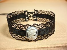 Victorian Lace Choker with Grey Ivory Cameo,