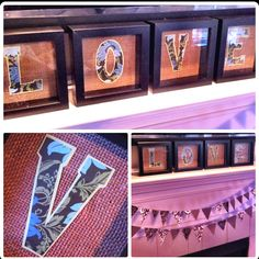 Burlap - frames are from Ikea, I use spray adhesive to attach burlap to backing and paper letters to burlap.
