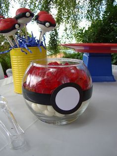 Candy and cake pops at a Pokemon Party #pokemon #party