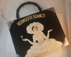 Vermount Bianco Cigar Box Purse Black Sequin