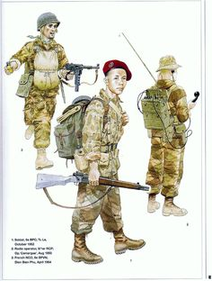 French; 5e BPVN, French NCO, Dien Bien Phu, April '54. 6e BPC, Paratrooper, Tu Le, October '52 & II/1er BPC Radio Operator, Op. Camarague, August '53