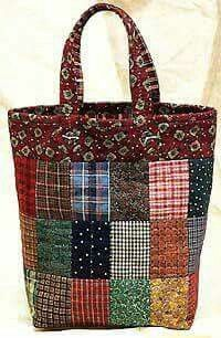 Country Tote Bag Pattern - Click Image to Close Patchwork Patterns, Bag Patterns To Sew, Patchwork Bags, Crazy Patchwork, Quilted Bags Patterns, Sacs Tote Bags, Quilted Tote Bags, Bag Quilt, Fabric Bags