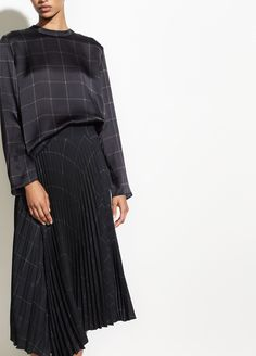 Shop Vince's Grid Plaid Drape Pleated Skirt for Women. Pleated for beautiful movement, the drape skirt is made from crepe and printed with a grid plaid. Draped Skirt, Pleated Skirt, Work Fashion, Hijab Fashion, Teacher Wear, Ladies Dress Design, Work Wear, Plaid, Street Style