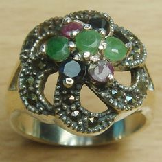 Genuine Ruby Emerald Sapphire 925 Sterling Silver Flower Cocktail Ring