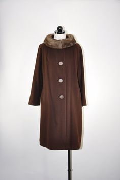 60s cashmere swing coat / vintage chocolate brown by QuietUnrest, $136.00