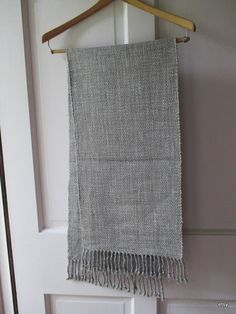 woven table runner grey 50 plus 3   knotted fringe by marthaweaves, $56.00