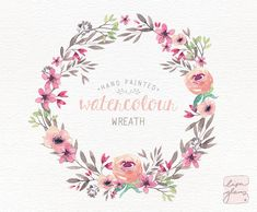 Watercolor wreath: PNG floral clip art / Wedding invitation clip art / Peach and pink floral wreath / commercial use / CM0085e by LisaGlanzGraphics on Etsy