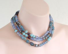 """Long necklace. African glass beads, artisan bronze by AnnaBronze, Roman glass, amethyst, labradorite. This very long 50 """" necklace could be worn as single strand, wrapped around twice or even three times."""