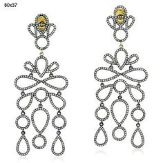 cool 14k Gold.925 Sterling Silver Diamond Chandelier Earrings Pave Jewelry Check more at http://shipperscentral.com/wp/product/14k-gold-925-sterling-silver-diamond-chandelier-earrings-pave-jewelry/