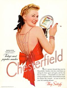 Chesterfield M Hutton Glenn Miller Moonlight 1941 - www.MadMenArt.com | Vintage Ads with Sex Appeal. Over 2000 vintage designs which could be said to have sex appeal. The blurred line between sex appeal and sexism. #Advertising #Vintage #Ads #VintageAds #SexAppeal